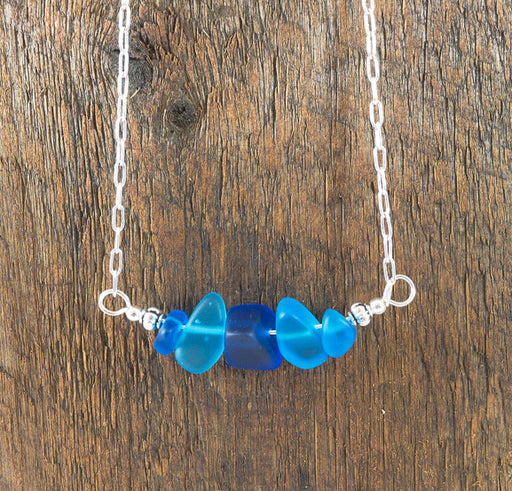 Necklace - Sea Glass Bar - Nuggets - Blues