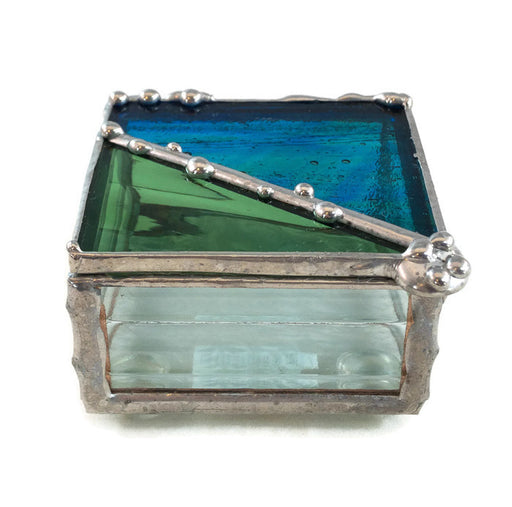 "Glass Treasure Box - 2""x2"" - Green & Marbled Blue/Green - 22-500"