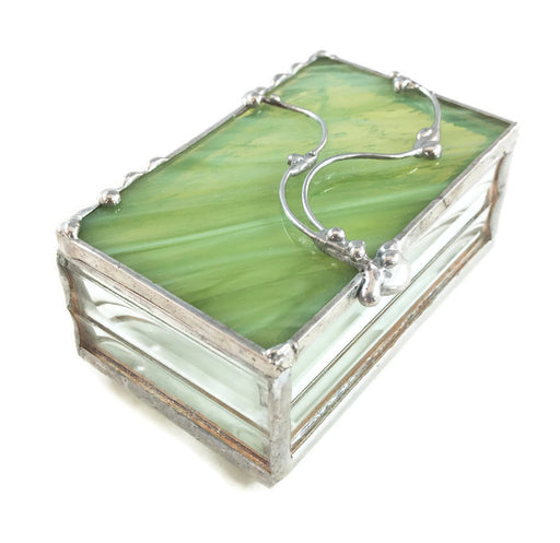 "Glass Treasure Box - 2""x3"" - Marbled Green - 23-DW"