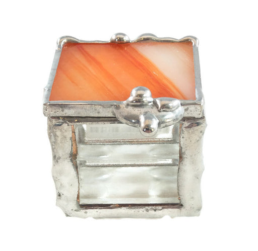 "Glass Treasure Box - 1""x1"" - Orange - 11-300"