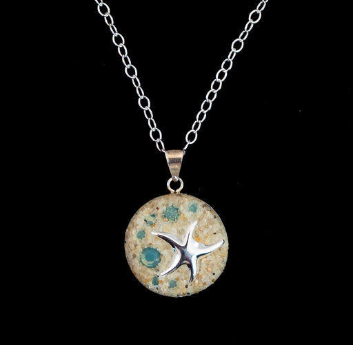 Necklace - Sterling Silver Pendant - Small - Starfish - Pacific Blue Opal - Cape Cod