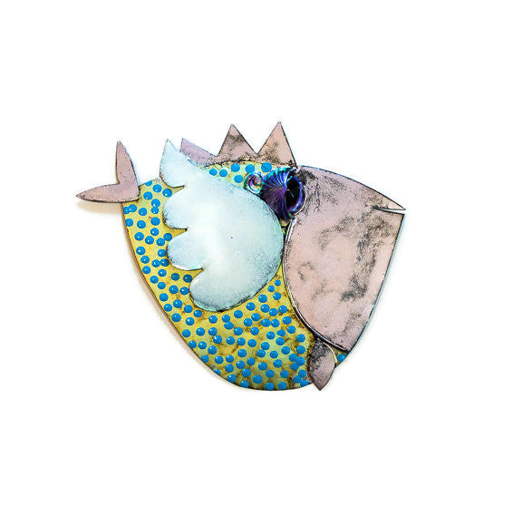 Angel Fish - 12 - Wall - Green Body/Violet Head - Blue Dots
