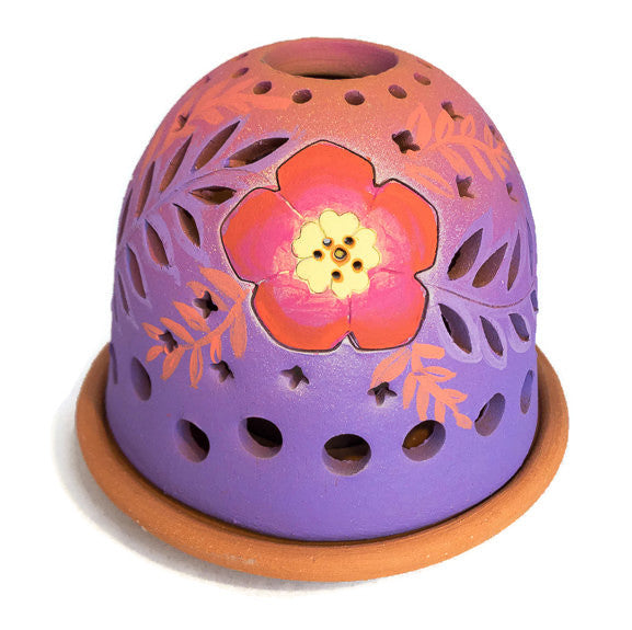 Luminary - Florals - Orangey Red Flowers on Purple
