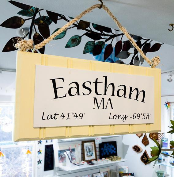 Beadboard Longitude Sign - Eastham - Yellow