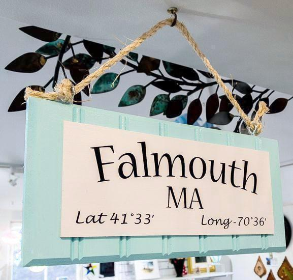 Beadboard Longitude Sign - Falmouth - Blue