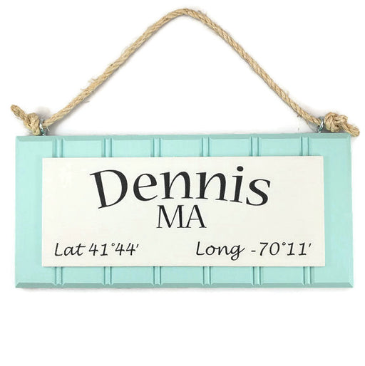 Beadboard Longitude Sign - Dennis - Blue