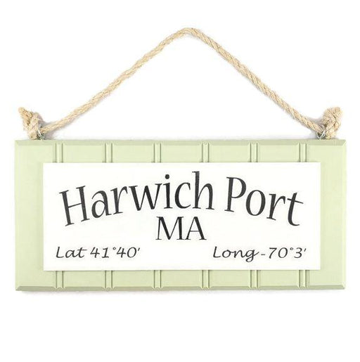Beadboard Longitude Sign - Harwich Port - Green