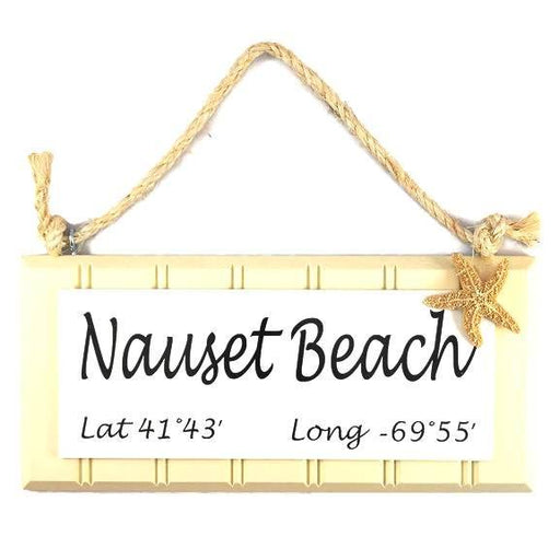 Beadboard Longitude Sign - Nauset Beach - Yellow