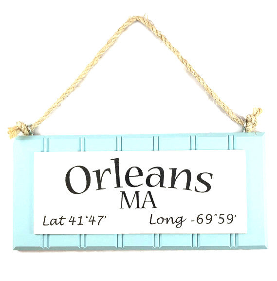 Beadboard Longitude Sign - Orleans - Blue