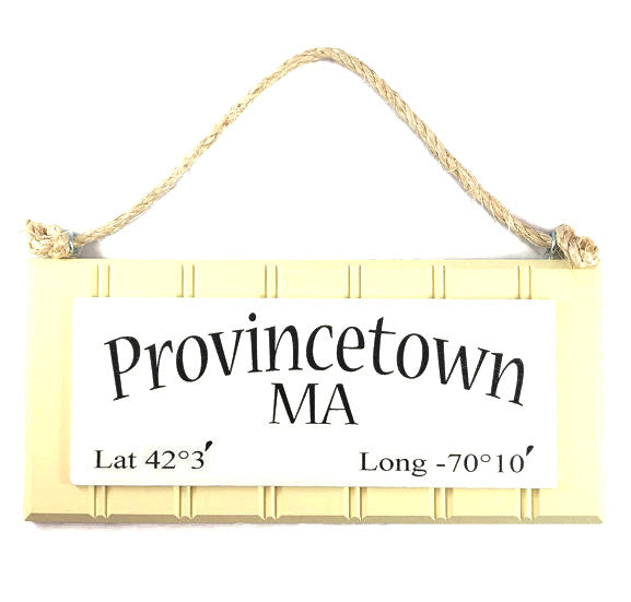 Beadboard Longitude Sign - Provincetown - Yellow