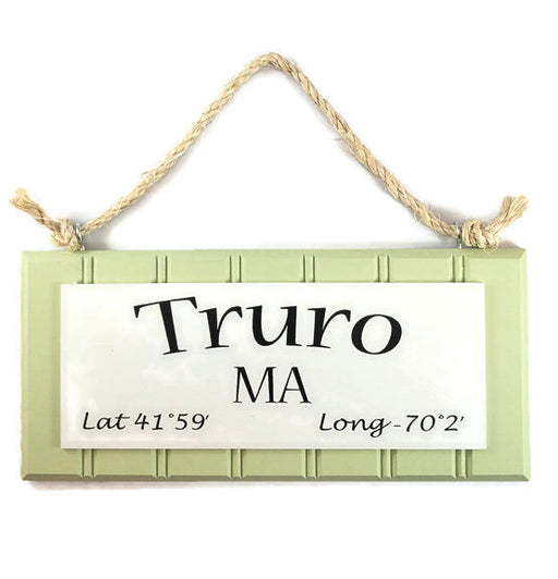 Beadboard Longitude Sign - Truro - Green