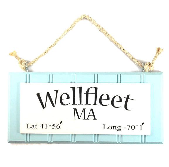 Beadboard Longitude Sign - Wellfleet - Blue