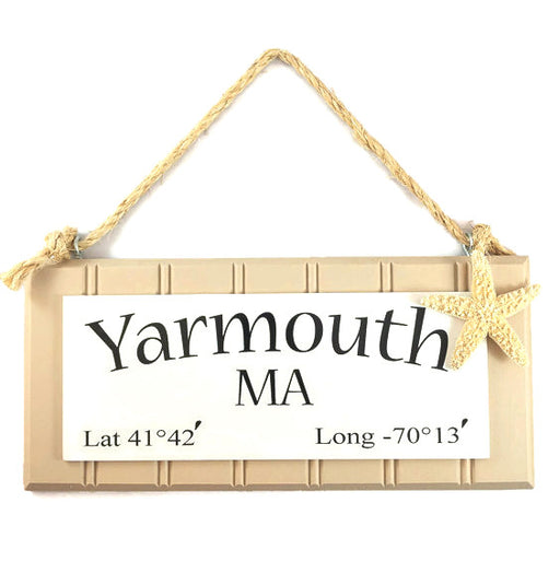 Beadboard Longitude Sign - Yarmouth - Brown