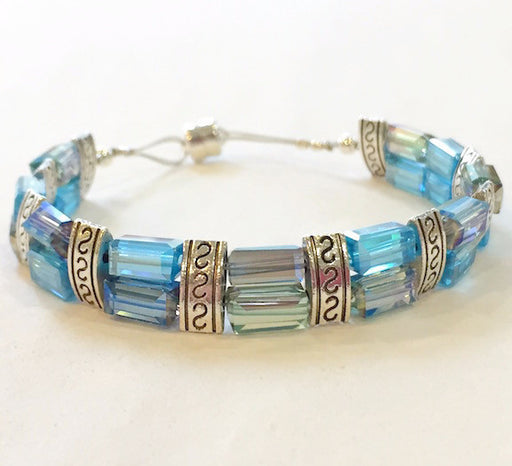 Magnetic Bracelet - Long Iridescent Blue and Silver Two by One