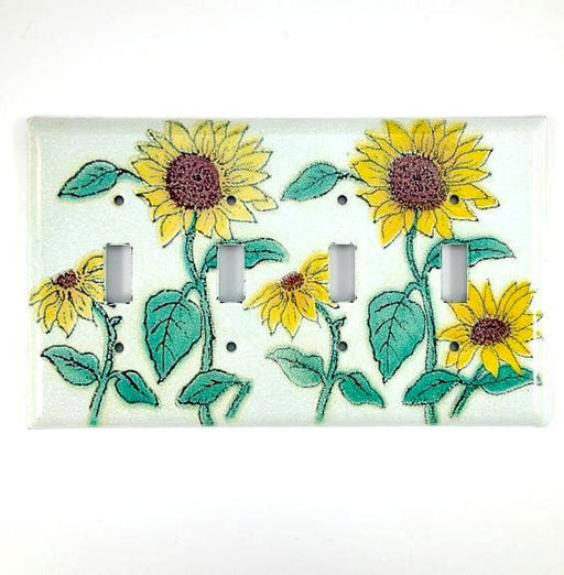 Switch Plate Cover - Quad - Sunflower