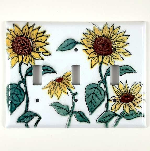 Switch Plate Cover - Triple - Sunflower