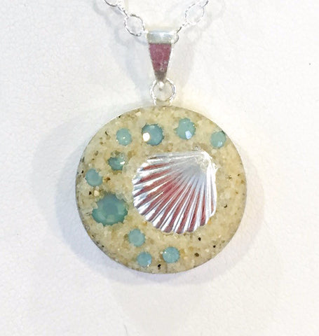 Necklace - Sterling Silver Pendant - Small - Shell - Pacific Opal