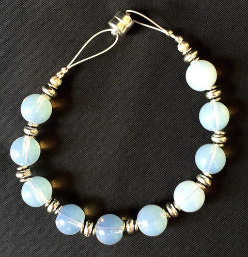 Magnetic Bracelet - Round Opal and Silver Bead