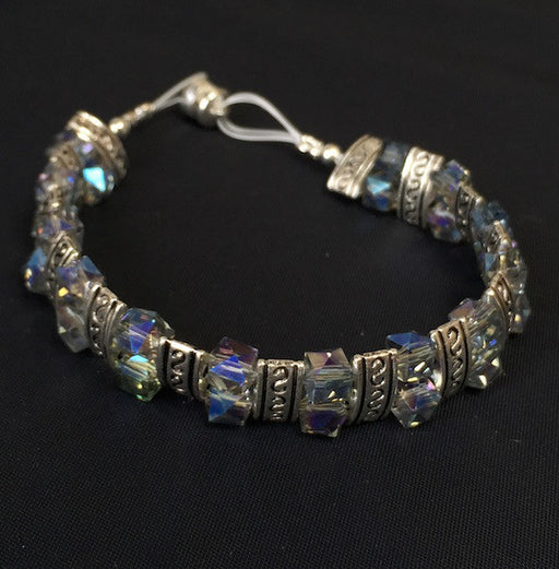 Magnetic Bracelet - Iridescent Blue and Silver Two by One