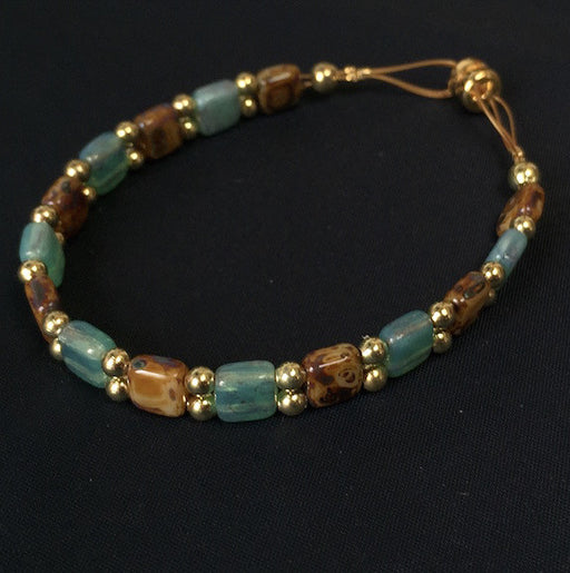 Magnetic Bracelet - Brown, Green and Gold Bead