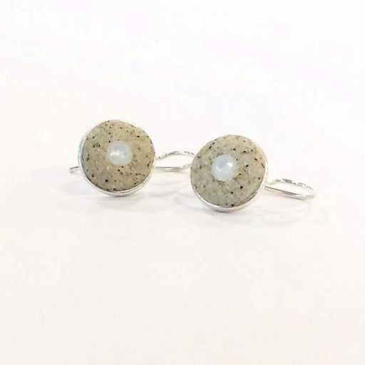 Earrings - Round Drop - White Opal - Nauset