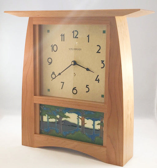 Clock - Arts & Crafts Tile Clock - 8 x 4 Horizontal Pine Tile - Cherry - ACT-84
