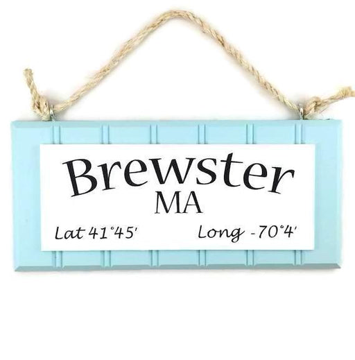 Beadboard Longitude Sign - Brewster - Blue