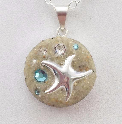 Necklace - Sterling Silver Pendant - Small - Starfish - Crystal and Light Turquoise - Cape Cod