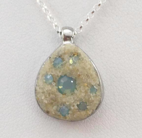Necklace - Pewter Teardrop Pendant - Pacific Opal - Cape Cod
