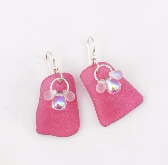 Earrings - Sea Glass with 3 beads - ER21 - Pink