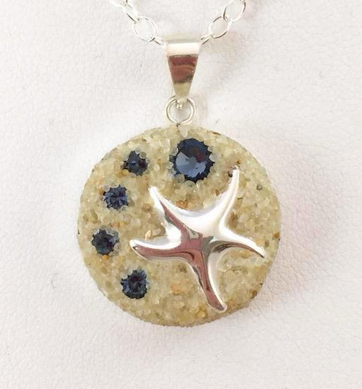 Necklace - Sterling Silver Pendant - Small - Blue Denim - Starfish