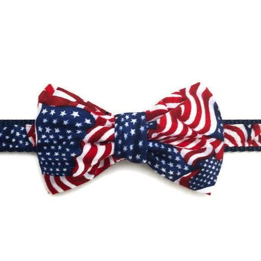 Dog Collar - American Flag with Bow Tie - Medium