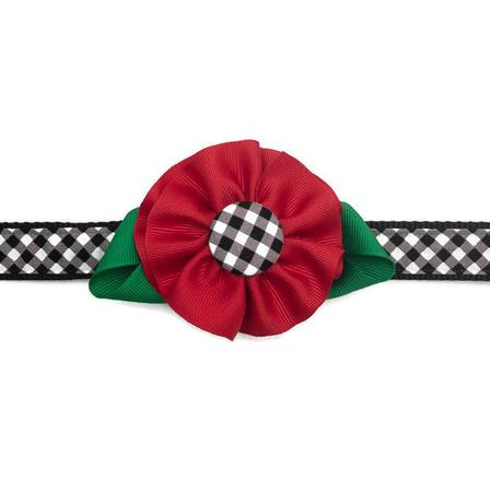 Dog Collar - Black Plaid with Red Flower - Small