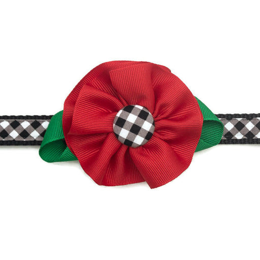 Dog Collar - Black Plaid with Red Flower - Medium