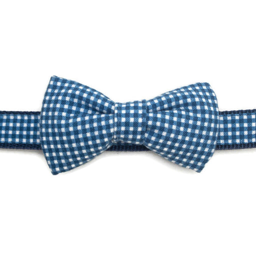 Dog Collar - Blue Gingham Bow Tie - Ex-Small