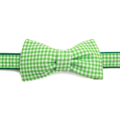 Dog Collar - Green Gingham Bow Tie - Ex-Small