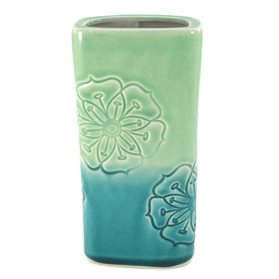 Rectangular Flower Vase - Large - Green & Teal - Flowers