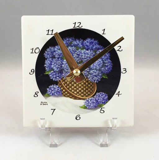 Clock - Desk - Hydrangea Basket - Brass Hand