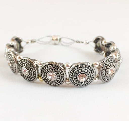 Magnetic Bracelet - Large Round Antique Silver and Crystal