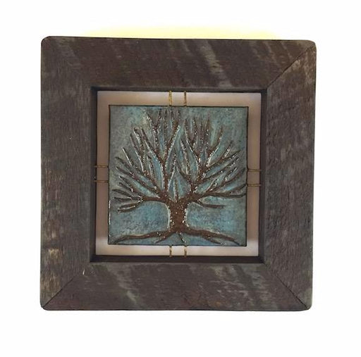 "Tree Tile - Brown on Blue - 7.5""x7.5"""
