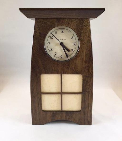 Clock - Arts & Crafts Clock - 4 x 4 Walnut Mullions Panel - Walnut - ACT-1