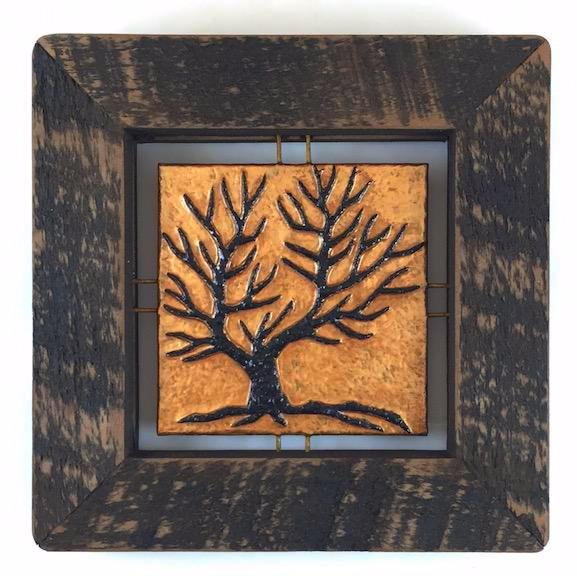 "Tree Tile - Brown on Copper - 7.5""x7.5"""
