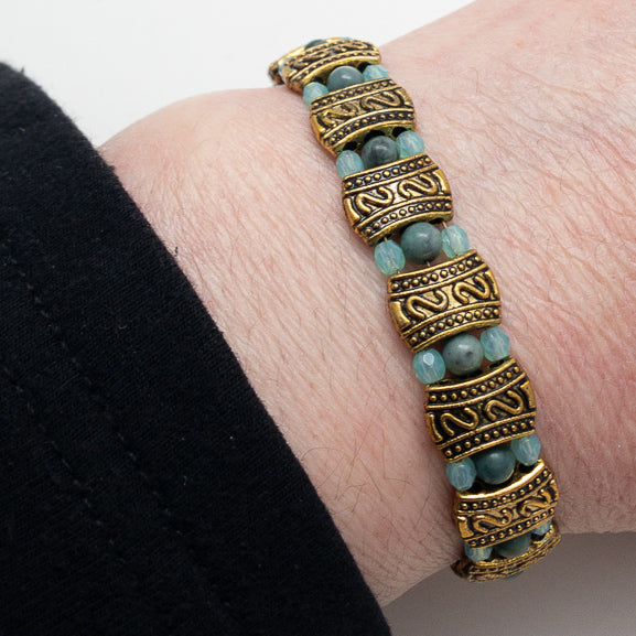 Magnetic Bracelet - Bronze and Blue Three by One