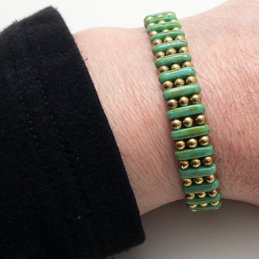 Magnetic Bracelet - Gold and Green Three by One