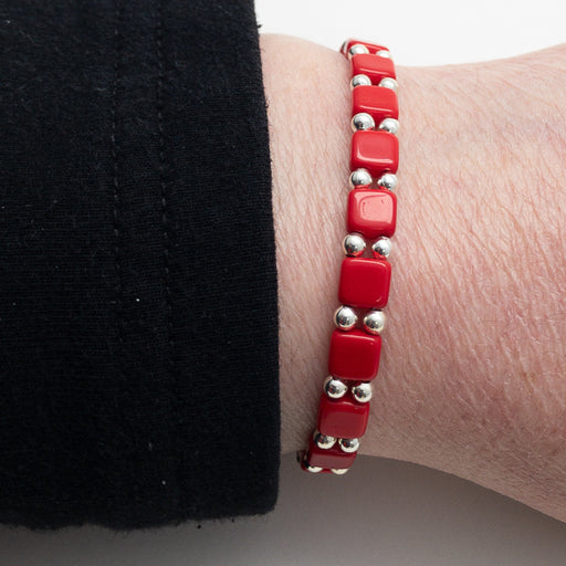Magnetic Bracelet - Silver and Square Red Two by One