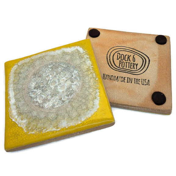 Coasters with Glass - Canary Yellow