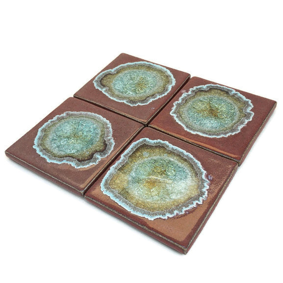 Coasters with Glass - Red