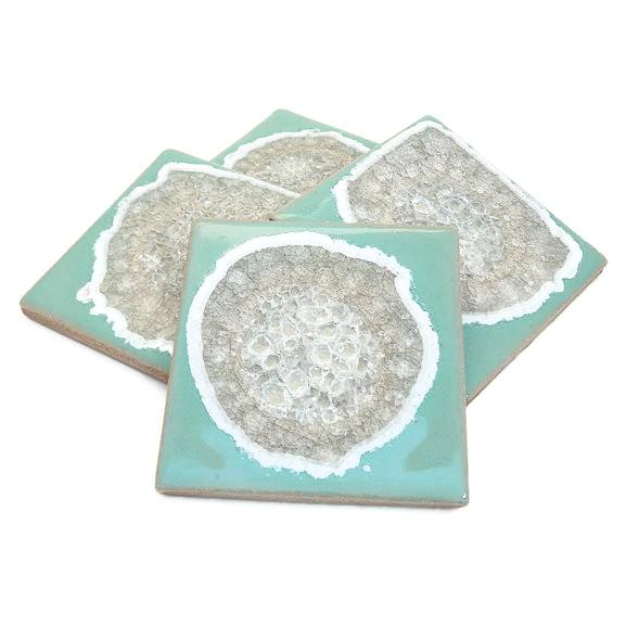 Coasters with Glass - Seafoam