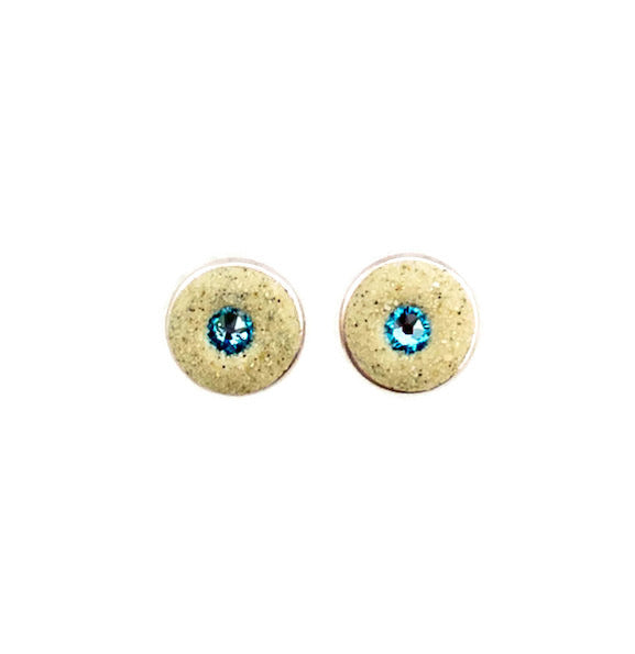 Earrings - Round Stud - Aquamarine - Skaket