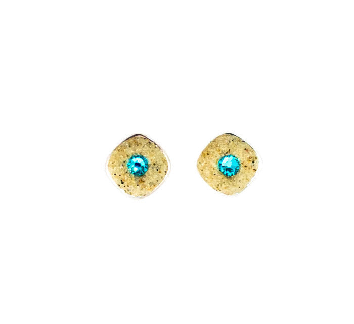 Earrings - Square Stud - Light Turquoise - Nauset
